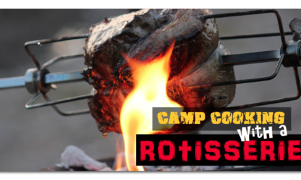 Camp cooking with a rotisserie