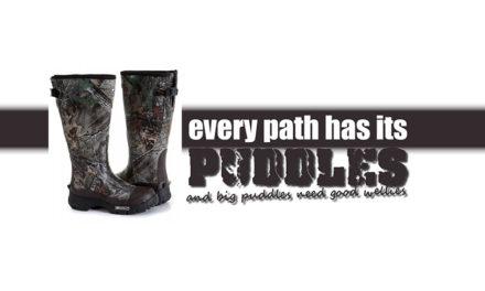Elk pad heeft zijn plassen en grote plassen hebben goede laarzen nodig. De Keldun Huntsman Rubber-schoen.