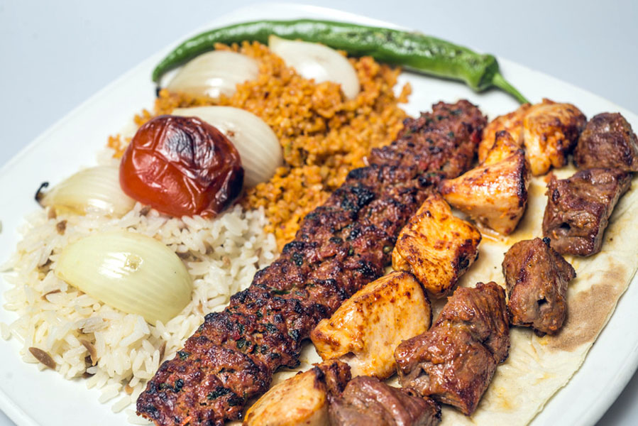 Traditional turkish meal - selections of kebabs