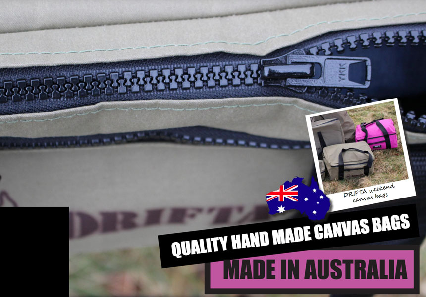 Qualitéit Hand Made Canvas Bags- Made in Australia by Drifta