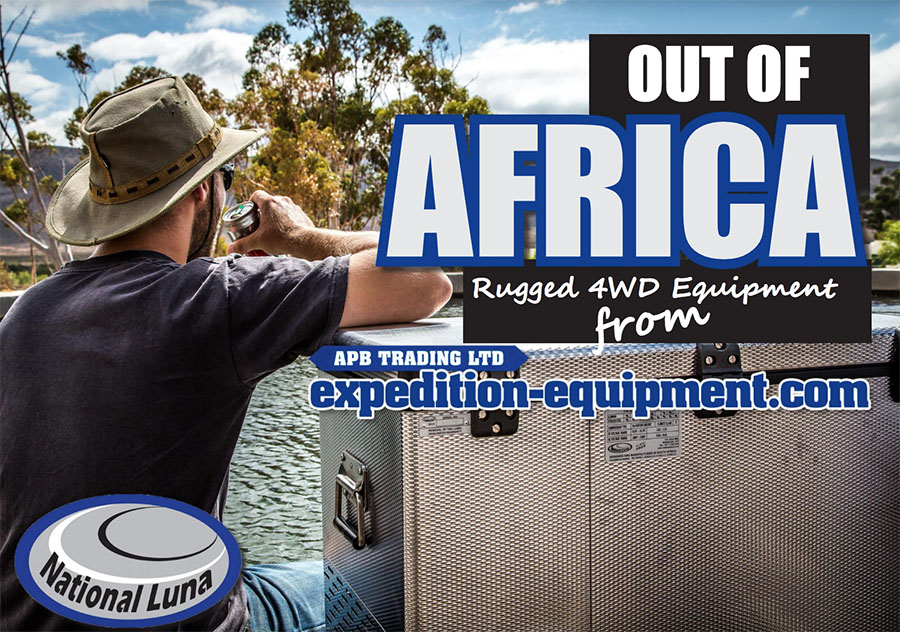 Afrikan ulkopuolelta - National Luna Rugged 4WD Varusteita APB Trading Ltd Expedition Equipment.